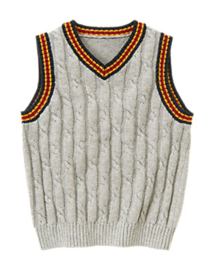 Heather Grey Tipped Cable Sweater Vest by Gymboree