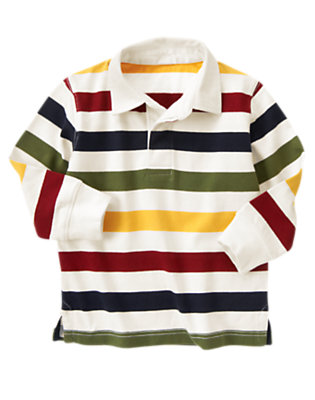 Ivory Stripe Multi Stripe Rugby Shirt by Gymboree