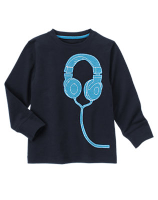 Gym Navy Headphones Tee by Gymboree