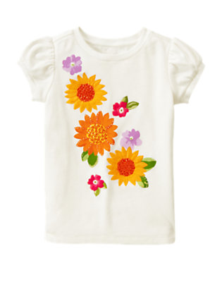 Ivory Sequin Bead Sunflower Tee by Gymboree