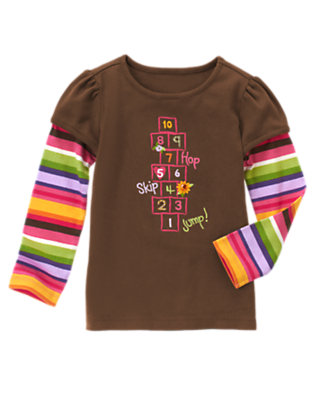 Chocolate Brown Hop Skip Jump Double Sleeve Tee by Gymboree