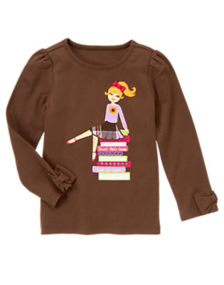 Chocolate Brown Smart Girl's Guide Long Sleeve Tee by Gymboree