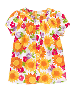 Ivory Sunflower Blossom Pleated Flower Top by Gymboree