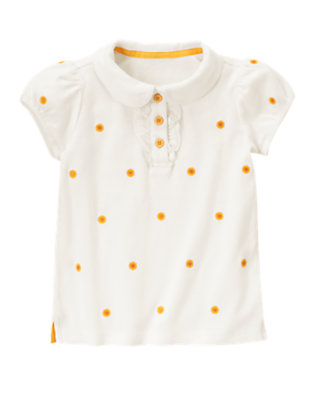 Ivory Sunflower Embroidered Polo Shirt by Gymboree