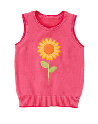Girls Pretty Pink Tipped Sunflower Sweater Vest by Gymboree