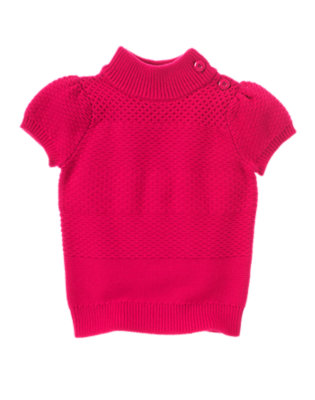 Girls Fuchsia Pink Button Pullover Short Sleeve Sweater by Gymboree