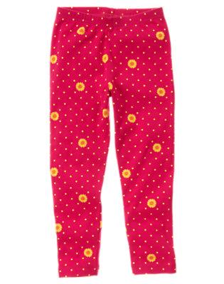Girls Fuchsia Pink Sunflower Dot Sunflower Dot Legging by Gymboree
