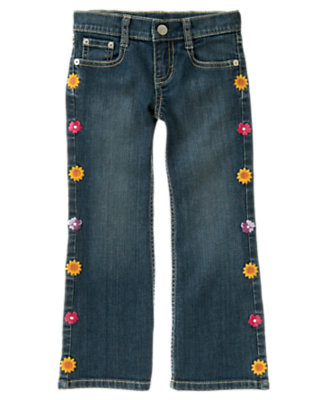 Denim Embroidered Flower Bootcut Jean by Gymboree
