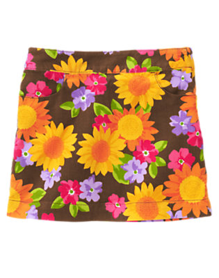 Girls Brown Sunflower Blossom Sunflower Blossom Corduroy Skort by Gymboree