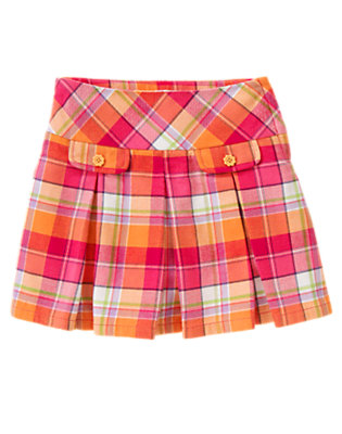 Fuchsia Pink Plaid Plaid Pleated Skort by Gymboree