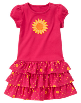 Girls Fuchsia Pink Sunflower Tiered Dress by Gymboree