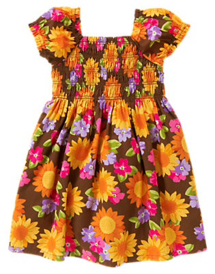 Brown Sunflower Blossom Sunflower Smocked Poplin Dress by Gymboree