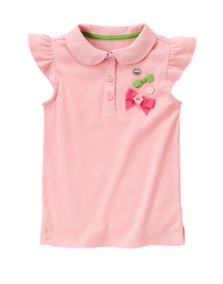 Pony Pink Button Bow Polo Shirt by Gymboree