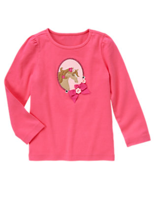 Pretty Pink Bow Sequin Pony Long Sleeve Tee by Gymboree