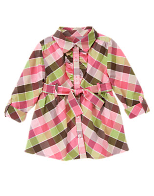 Fuchsia Pink Plaid Ruffle Belted Plaid Tunic Top by Gymboree