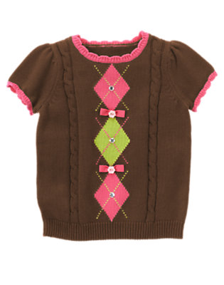 Girls Chocolate Brown Gem Bow Argyle Short Sleeve Sweater by Gymboree