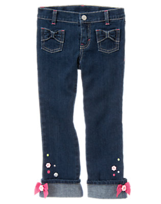 Girls Denim Button Bow Cuff Jean by Gymboree