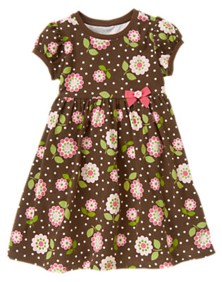 Brown Flower Dot Flower Dot Bow Dress by Gymboree