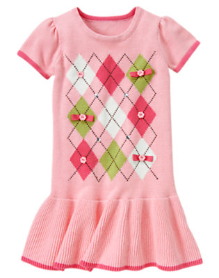 Girls Pony Pink Gem Bow Argyle Sweater Dress by Gymboree