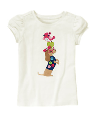 Ivory Bird And Dog Gem Tee by Gymboree