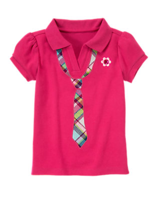 Berry Pink Plaid Tie Polo Shirt by Gymboree