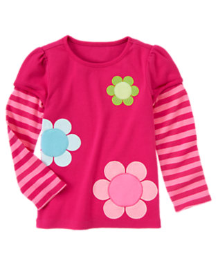 Berry Pink Big Flowers Double Sleeve Tee by Gymboree