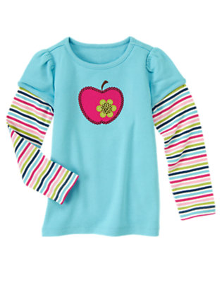 Sky Blue Sequin Apple Double Sleeve Tee by Gymboree
