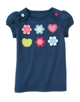 Deep Blue Flower Heart Gem Tee by Gymboree