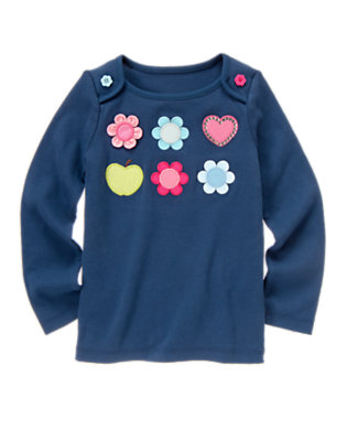 Deep Blue Flower Heart Gem Long Sleeve Tee by Gymboree