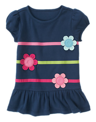 Deep Blue Flower Ribbon Ruffle Hem Top by Gymboree