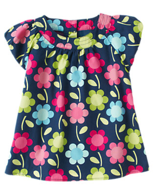 Deep Blue Floral Floral Swing Top by Gymboree