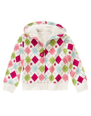 Girls Sweet Pink Argyle Argyle Fleece Hoodie by Gymboree