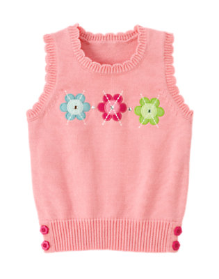 Girls Sweet Pink Gem Flower Argyle Sweater Vest by Gymboree