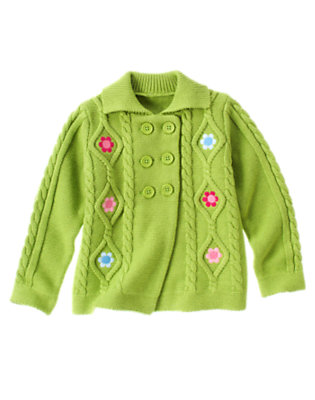 Green Apple Embroidered Flower Double Breasted Cardigan by Gymboree