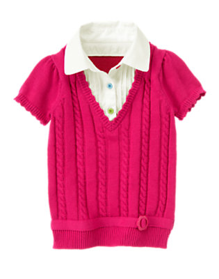 Berry Pink Layered Cable Sweater Top by Gymboree