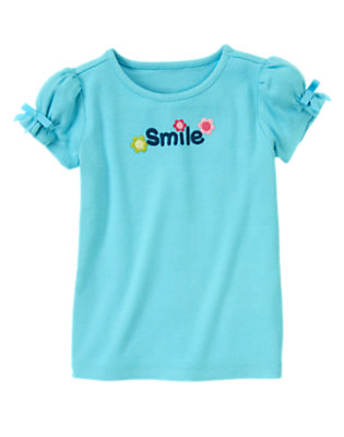 Sky Blue Smile Flower Tee by Gymboree