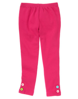 Girls Berry Pink Flower Button Cuff Legging by Gymboree