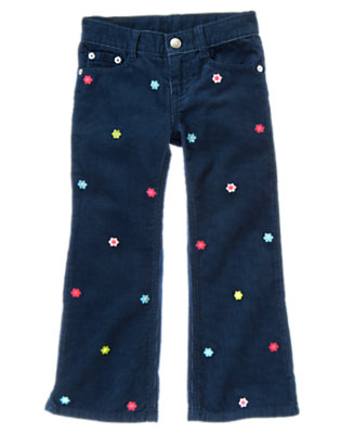 Girls Deep Blue Embroidered Flower Corduroy Bootcut Pant by Gymboree