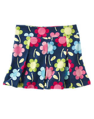 Girls Deep Blue Floral Floral Pleated Corduroy Skort by Gymboree