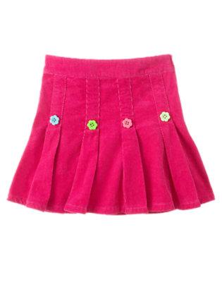 Berry Pink Flower Button Pleated Corduroy Skort by Gymboree
