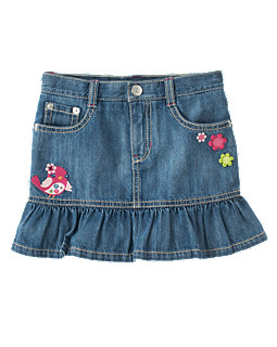 Embroidered Bird Flower Jean Skort