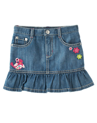 Girls Denim Embroidered Bird Flower Jean Skort by Gymboree