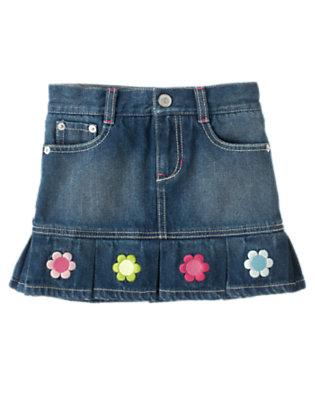 Denim Embroidered Flower Jean Skort by Gymboree
