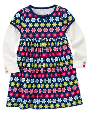 Girls Deep Blue Mini Floral Flower Print Double Sleeve Dress by Gymboree
