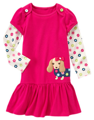 Girls Bright Berry Dog Double Sleeve Dress by Gymboree