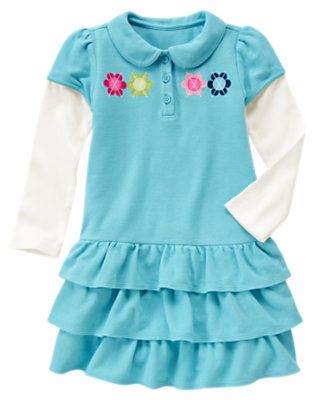 Girls Sky Blue Polo Tiered Double Sleeve Dress by Gymboree
