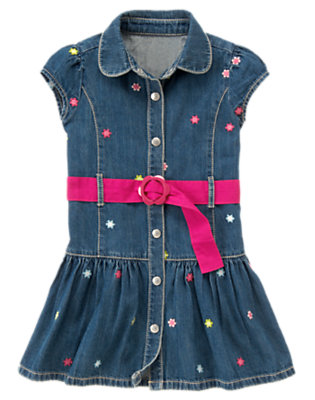 Denim Embroidered Flower Belted Denim Dress by Gymboree