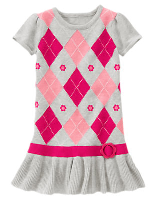 Girls Heather Grey Argyle Flower Argyle Sweater Dress by Gymboree