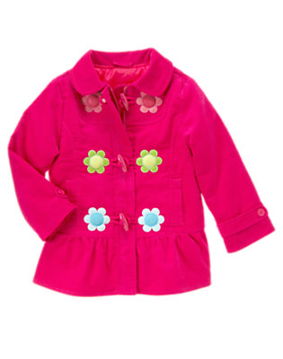 Girls Berry Pink Flower Toggle Coat by Gymboree