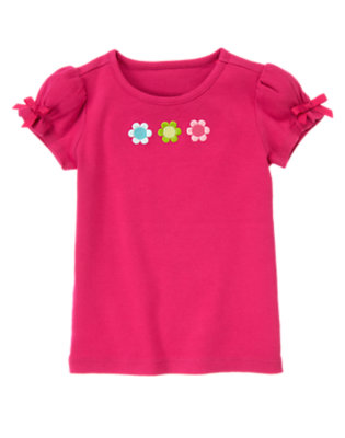 Berry Pink Embroidered Flower Tee by Gymboree